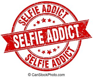 selfie addict round grunge ribbon stamp