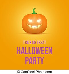 Cartoon halloween pumpkin. Pumpkin with sinister smiling face isolated on white background. Vector