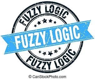 fuzzy logic round grunge ribbon stamp