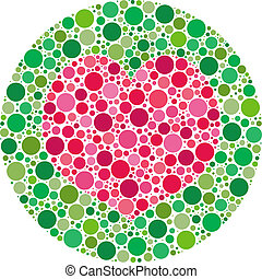 My Love is Colour Blind - Heart shape made of circles,...