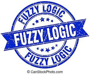 fuzzy logic round grunge ribbon stamp