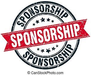 sponsorship round grunge ribbon stamp