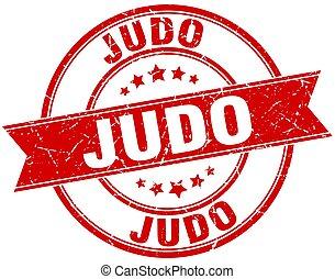 judo round grunge ribbon stamp