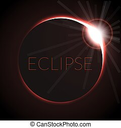 Full eclipse vector illustration. Eclipse with ring of sun...