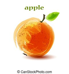 Fresh orange apple on white background.