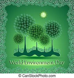 World green environment day background. Vector illustration.