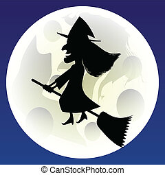Witch - Illustration of witches flying on the moon