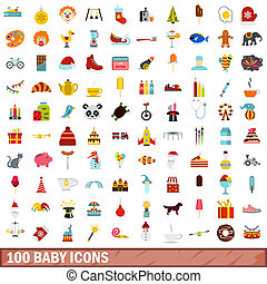 100 baby icons set, flat style - 100 baby icons set in flat...