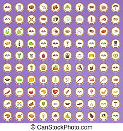 100 national cuisine icons set in cartoon style on purple...