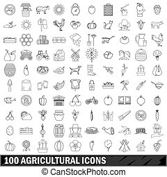 100 agricultural icons set, outline style - 100 agricultural...