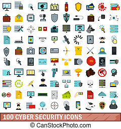 100 cyber security icons set, flat style