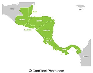 Map of Central America region with green highlighted central american states. Country name labels. Simple flat vector illustration