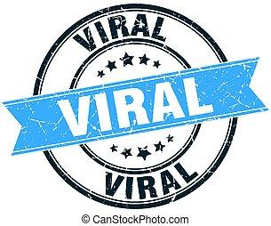 viral round grunge ribbon stamp