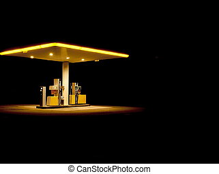 Lonely Gasstation - Gasstation at night