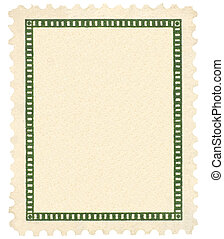 Blank Vintage Postage Stamp And Green Vignette Macro,...