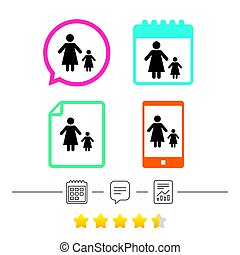 One-parent family with one child sign icon. Mother with...