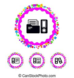 Accounting icons. Document storage in folders. - Web buttons...