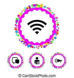 Wifi and chat bubbles. Add user, megaphone. - Web buttons...