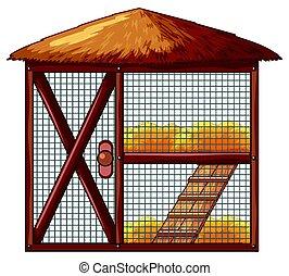 Chicken coop with no chicken illustration
