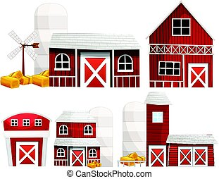 Different designs of barns and silo illustration