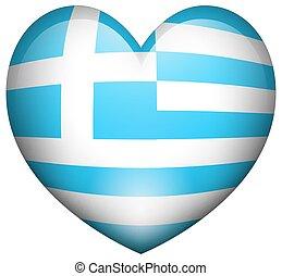 Flag of Greece in heart shape