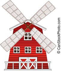 Windmill painted in red color