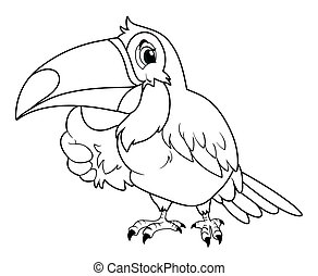 Animal outline for toucan bird illustration