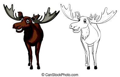 Animal outline for moose illustration