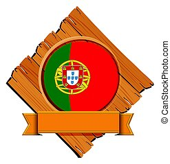 Flag of Portugal on wooden board