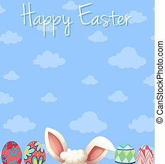 Happy Easter poster design with eggs and blue sky