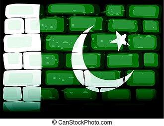 Flag of Pakistan painted on brickwall illustration
