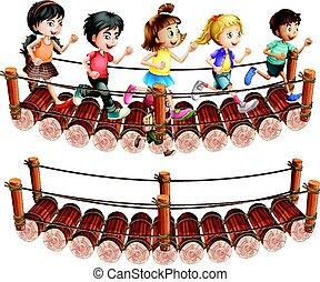 Children running across the wooden bridge illustration