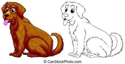Animal outline for golden retriever dog illustration