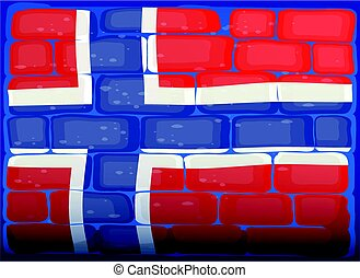 Flag of Norway painted on brickwall illustration