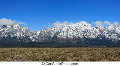montagnes, Grandiose, teton, national, Parc, Wyoming, USA