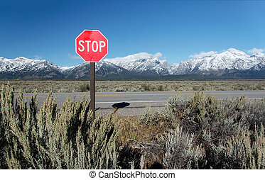 "Traffic Sign ""Stop"" with mountains at Grand Teton National Park, Wyoming, USA"