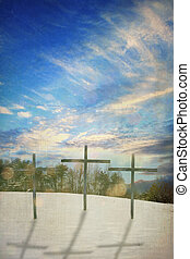 Three Crosses - Photo based illustration of three wooden...