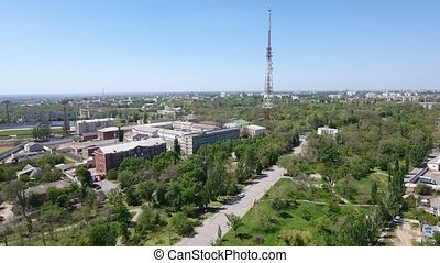 Aerial shot of Kherson cityscape with wonderful sky and horizon line in spring