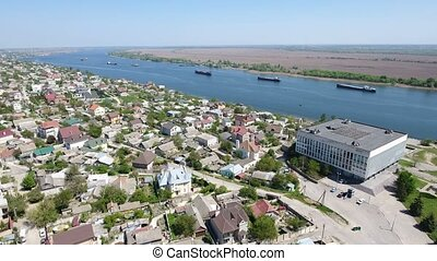 Aerial shot of a fabulous quay of the Dnipro with summer...