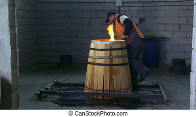 Production of wine barrels in workshop
