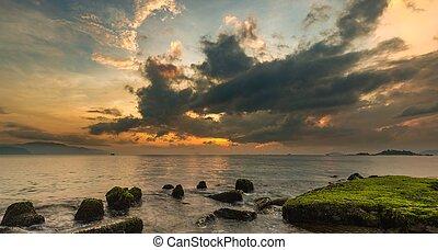 Nha Trang Bay Sunrise Sky Vietnam - A view of Nha Trang bay...
