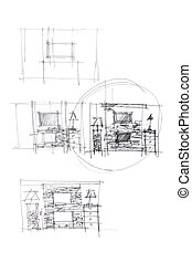 rough drawings of living room design as one of the option for modern interior