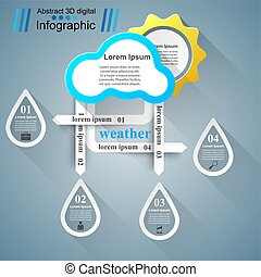 Wheather infographic. Sun, cloud, rain icon. - 3d icon...