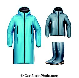 Jackets with rubber boots - Vector set of long, short blue,...