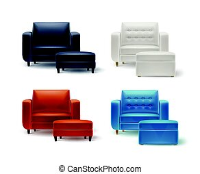 Set of armchairs with poufs