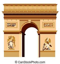 Triumphal Arch - Colorful Triumphal Arch in Paris vector...