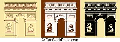 Set of Triumphal Arch - Set of Colorful Triumphal Arch...