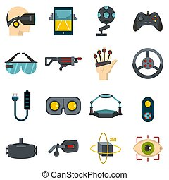 Virtual reality icons set in flat style isolated...