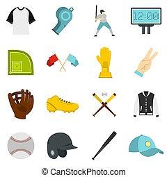 Baseball icons set in flat style isolated  illustration