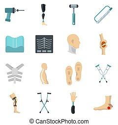 Orthopedics prosthetics icons set in flat style isolated...